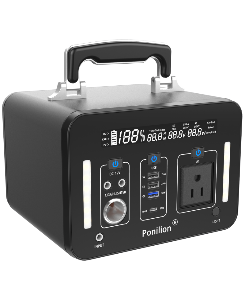PoniLion® A500-G Portable Power Station With 135200mAh / 500Wh / AC 500W Pure Sine Wave
